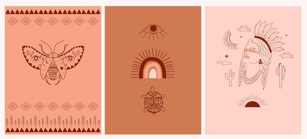 Verzameling van boho en tribale posters, vrouwengezichtsportret, vogels, esoterische en tribale elementen, insecten en planten.