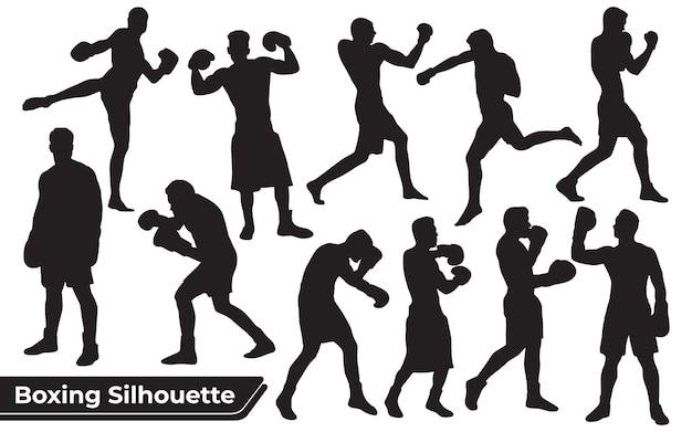 Verzameling van boks- en bodybuildersilhouet