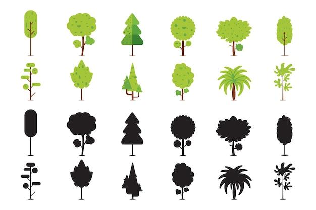 Verzameling van bomen in vlakke stijl met zijn silhouet
