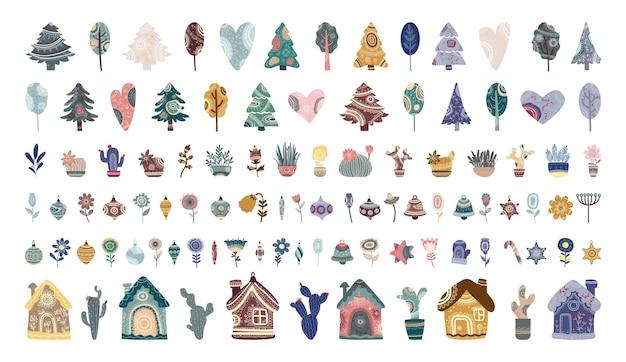 Verzameling van bomen, planten, huizen en kerstspeelgoed met abstracte ornamenten