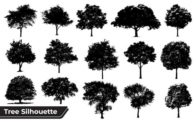 Verzameling van boomsilhouetten