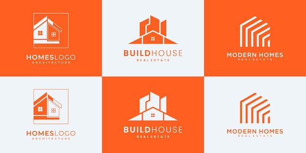 Verzameling van bouwarchitectuursets, inspiratie voor het ontwerpen van onroerend goed logo