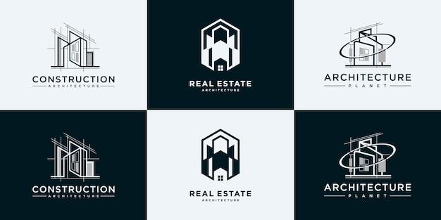 Verzameling van bouwarchitectuursets, inspiratie voor het ontwerpen van onroerend goed logo.