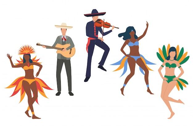 Verzameling van braziliaanse carnaval-deelnemers