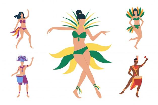 Verzameling van braziliaanse dansers in kostuums