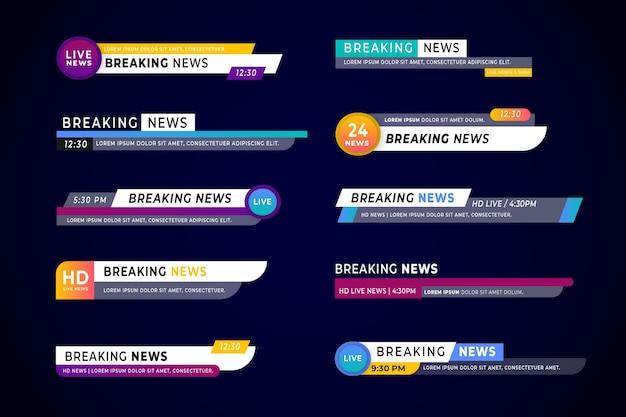 Verzameling van breaking news banners