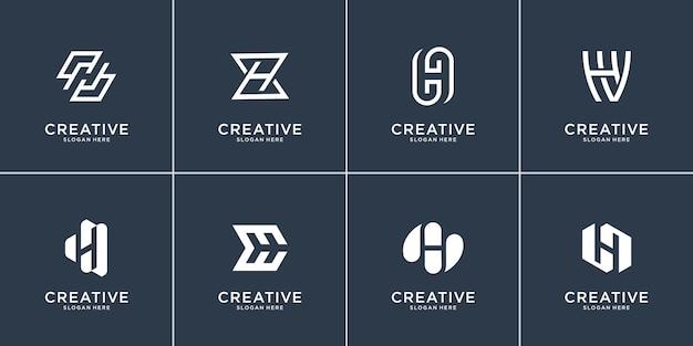 Verzameling van briefsjabloon h. plat en lijntekeningen vorm logo eerste h
