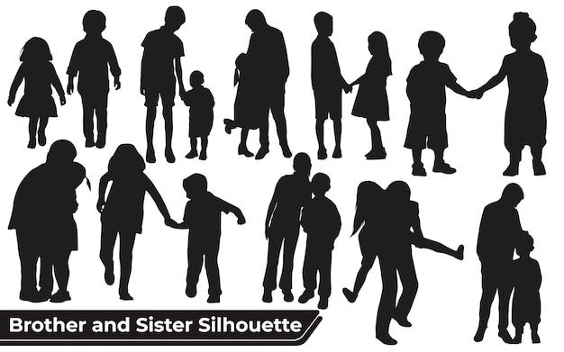 Verzameling van broer en zus silhouetten in verschillende poses set Premium Vector