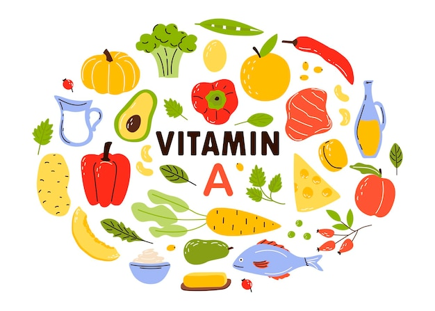 Verzameling van bronnen van vitamine a. fruit en groenten verrijkt met ascorbinezuur.