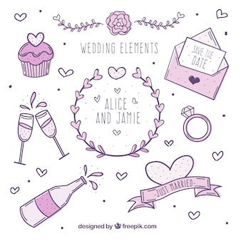 Verzameling van bruiloft elementen in paarse tinten