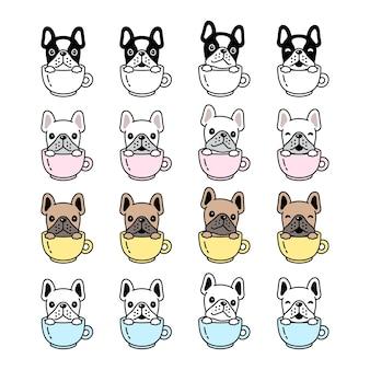 Verzameling van bulldog op koffiekopje