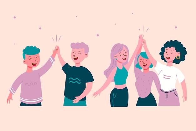 Verzameling van burgers die high five geven