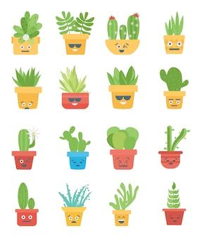 Verzameling van cactus en vetplanten emoji smiley premium vector