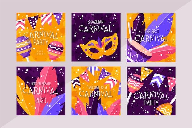 Verzameling van carnaval party instagram-berichten