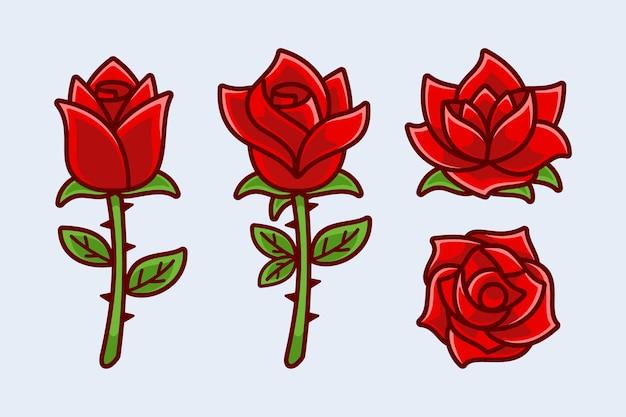 Verzameling van cartoon bloom rose flower