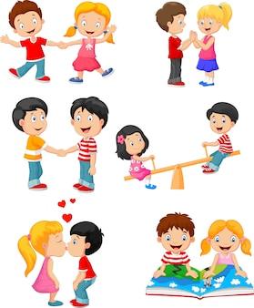 Verzameling van cartoon kinderen paar
