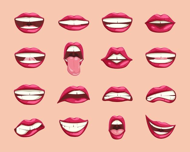 Verzameling van cartoon lippen.