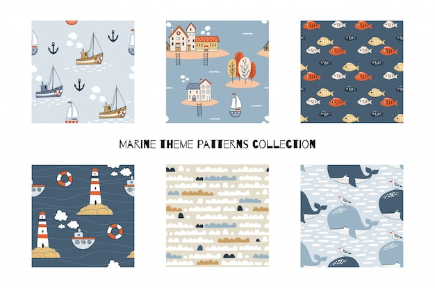 Verzameling van cartoon mariene naadloze patronen. hand getekende illustratie. set inclusief zes ontwerpen met boten, vuurtoren, wolken, walvissen en vissen.