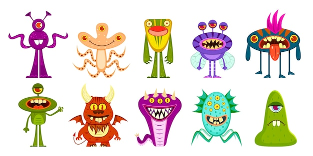 Verzameling van cartoon monsters