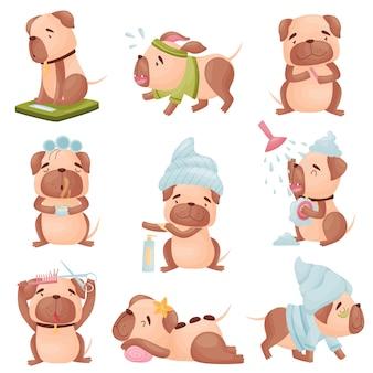 Verzameling van cartoon pugs huishoudelijk werk doen