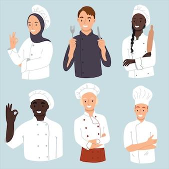 Verzameling van chef-kok man en vrouw. Premium Vector