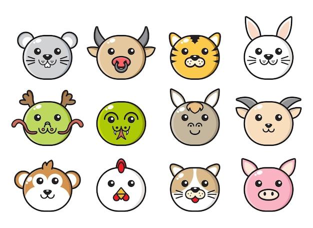 Verzameling van chinese dierenriem gezicht mascotte