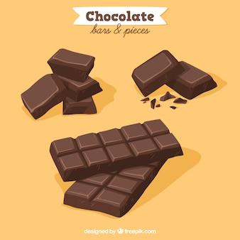 Verzameling van chocoladerepen en stukken