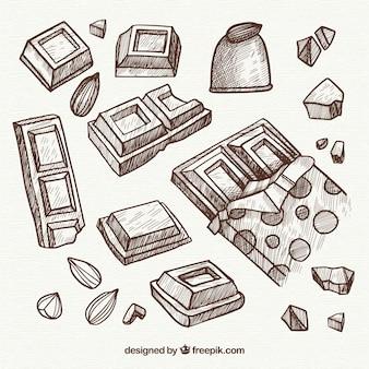 Verzameling van chocoladerepen in schets stijl