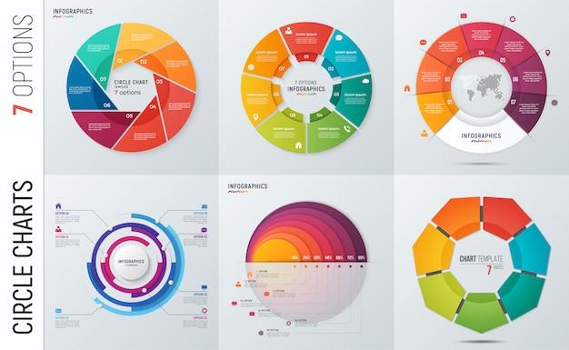 Verzameling van cirkel grafiek infographic sjablonen