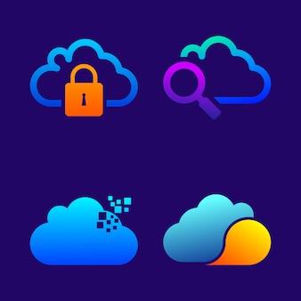 Verzameling van cloud pictogrammen