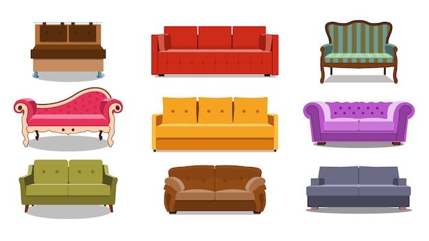 Verzameling van comfortabele lounge voor interieur
