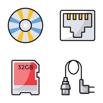 Verzameling van computer hardware pictogrammen