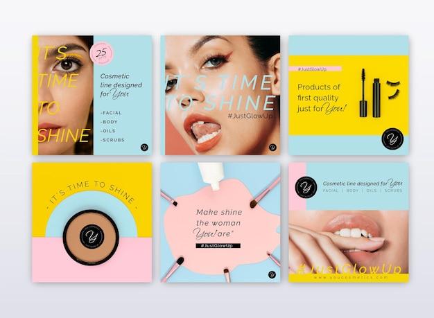 Verzameling van cosmetische instagram-berichten