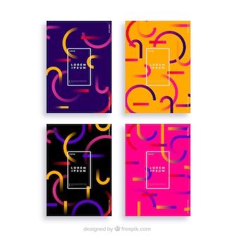 Verzameling van covers met abstracte gebogen lijnen