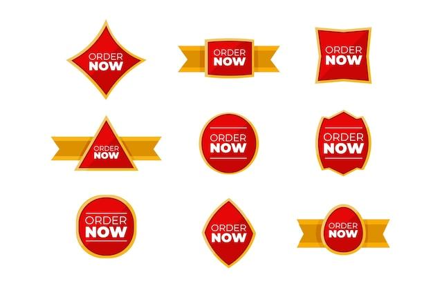 Verzameling van creatieve bestelling nu stickers