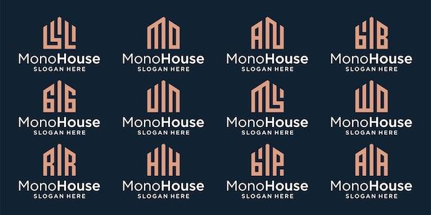 Verzameling van creatieve huisbouwlogo's met een eerste lettermonogram. premium vector