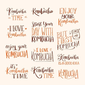 Verzameling van creatieve kombuchathee-letters