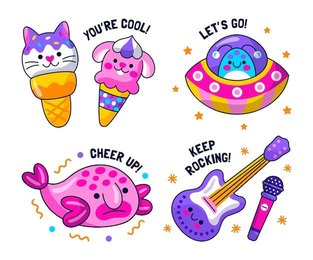 Verzameling van creatieve leuke stickers