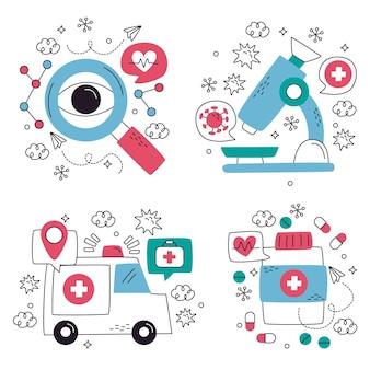 Verzameling van creatieve medische stickers