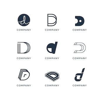 Verzameling van creatieve platte d-logo's