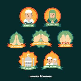 Verzameling van creatieve ramadan badges