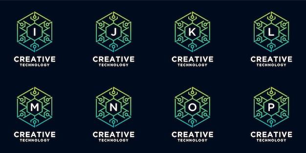 Verzameling van creatieve technologie-logo's in zeshoekige stijl