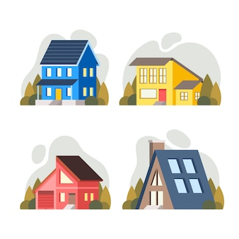 Verzameling van creatieve verschillende huizen