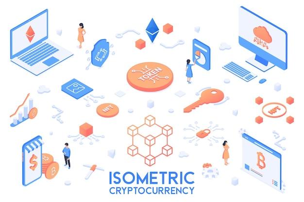 Verzameling van cryptocurrency-elementen isometrische set objecten