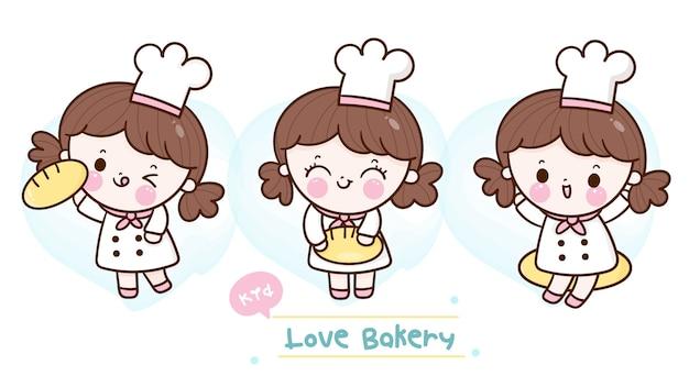 Verzameling van cute baker meisjes