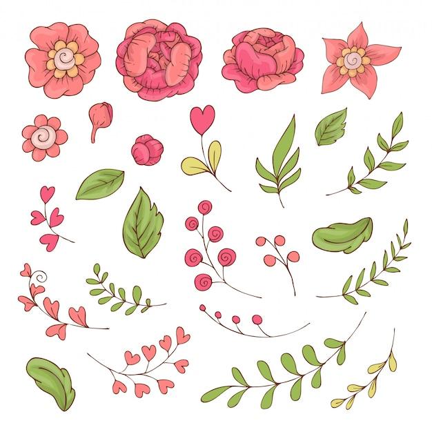 Verzameling van cute cartoon bloemen en bladeren voor valentijnsdag
