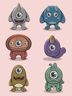 Verzameling van cute cartoon buitenaardse monsters in hand getrokken