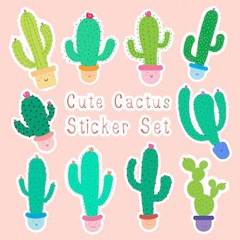 Verzameling van cute cartoon cactus stickers met blije gezichten in potten