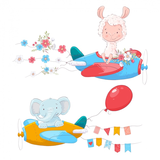 Verzameling van cute cartoon dieren lama en een olifant op een vliegtuig met bloemen en vlaggen