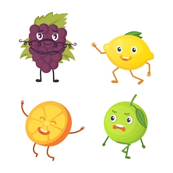 Verzameling van cute cartoon fruit. illustratie met grappige karakters. grappige tijd voor vers eten.
